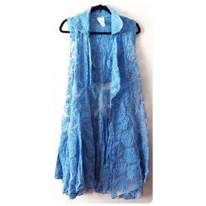 NWT Fleur De Lis Blue Lace Vest Cardigan sz L